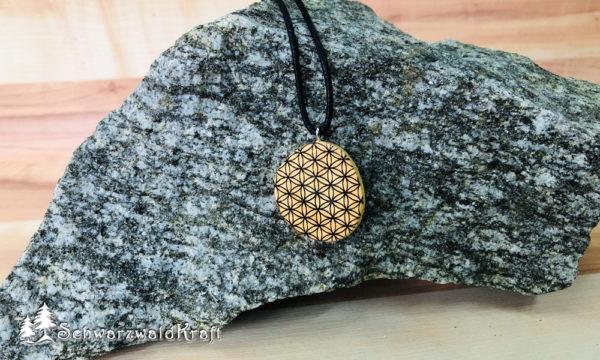 Amulett Blume des Lebens ohne Rinde Buche