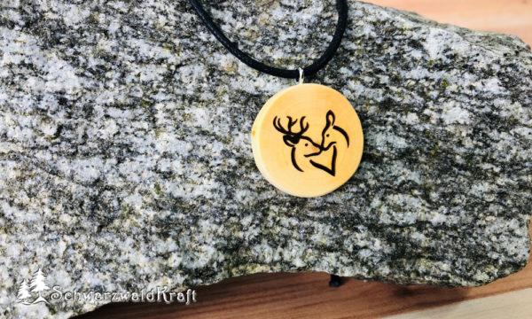 Amulett Hirschpaar ohne Rinde Kirsche