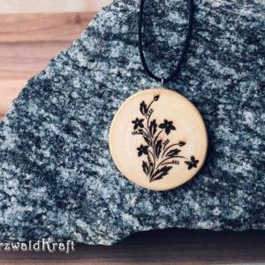 Holzanhänger Flower ohne Rinde Buche