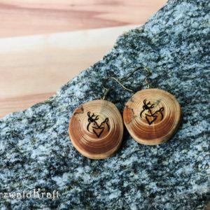 Ohrhänger aus Holz Hirschpaar Tanne
