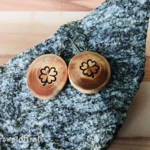 Ohrhänger aus Holz Kleeblatt Tanne