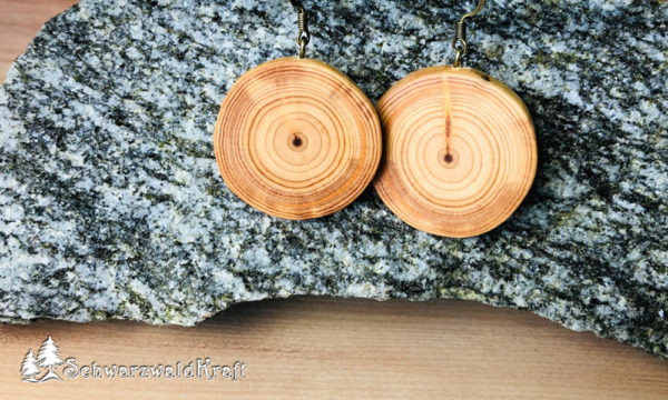 Ohrhänger aus Holz Pur Lärche Bronze