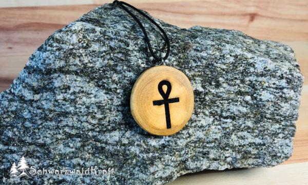 Amulett Ankh Holz Kirsche ohne Rinde